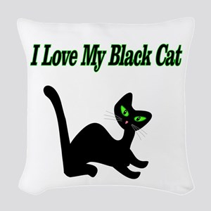 I Love My Black Cat Woven Throw Pillow