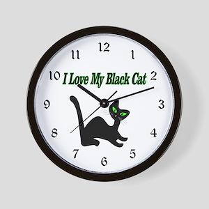 I Love My Black Cat Wall Clock