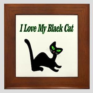 I Love My Black Cat Framed Tile