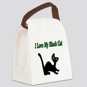 I Love My Black Cat Canvas Lunch Bag
