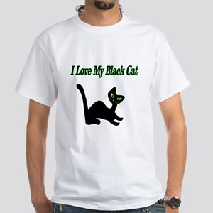 9a266c8bc49 I Love My Black Cat White T-Shirt
