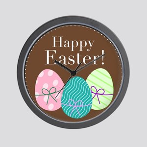 Happy Easter Logo with Easter Eggs Wall Clock