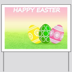 Happy Easter Pretty Eggs on Grass Yard Sign