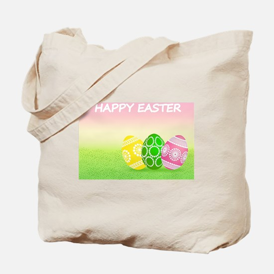 Happy Easter Pretty Eggs on Grass Tote Bag