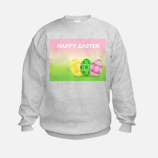 Happy Easter Pretty Eggs on Grass Sweatshirt
