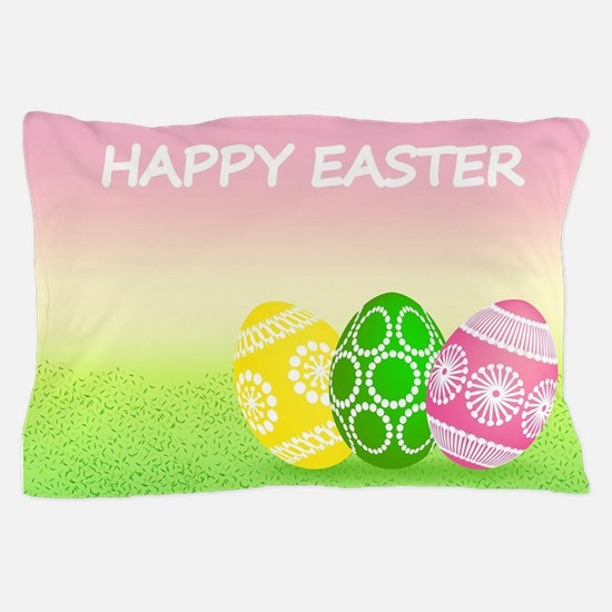 Happy Easter Pretty Eggs on Grass Pillow Case