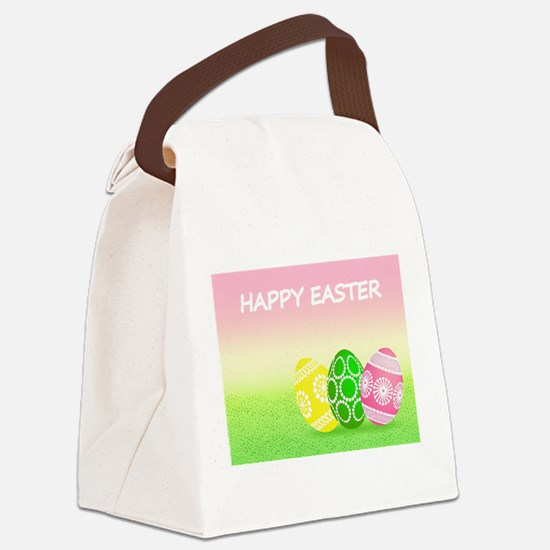 Happy Easter Pretty Eggs on Grass Canvas Lunch Bag