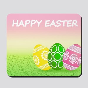 Happy Easter Pretty Eggs on Grass Mousepad