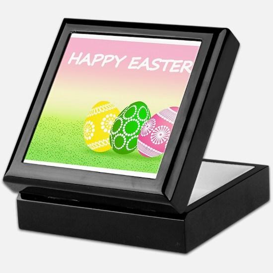 Happy Easter Pretty Eggs on Grass Keepsake Box