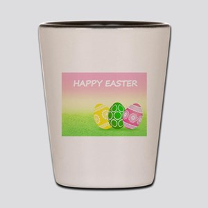Happy Easter Pretty Eggs on Grass Shot Glass