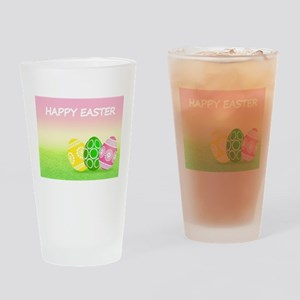 Happy Easter Pretty Eggs on Grass Drinking Glass