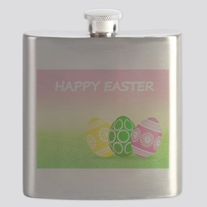 Happy Easter Pretty Eggs on Grass Flask