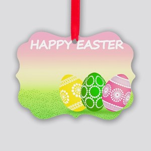 Happy Easter Pretty Eggs on Grass Picture Ornament