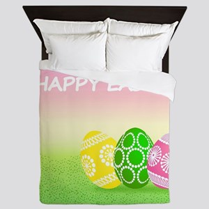 Happy Easter Pretty Eggs on Grass Queen Duvet
