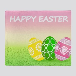 Happy Easter Pretty Eggs on Grass Throw Blanket
