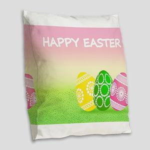 Happy Easter Pretty Eggs on Gr Burlap Throw Pillow