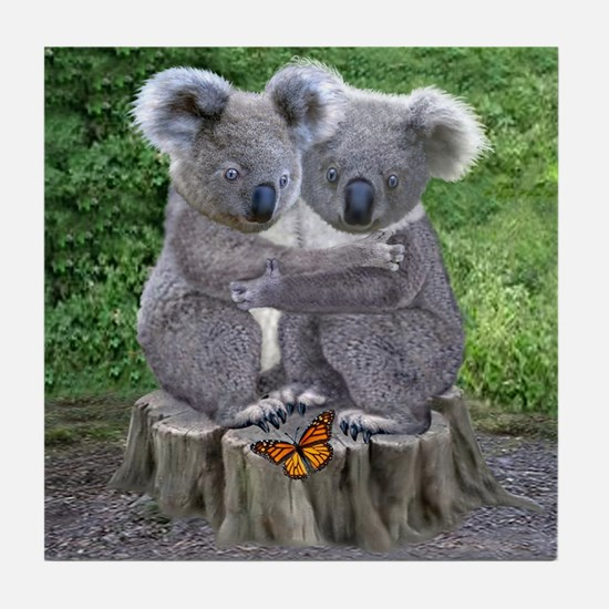 BABY KOALA HUGGIES Tile Coaster