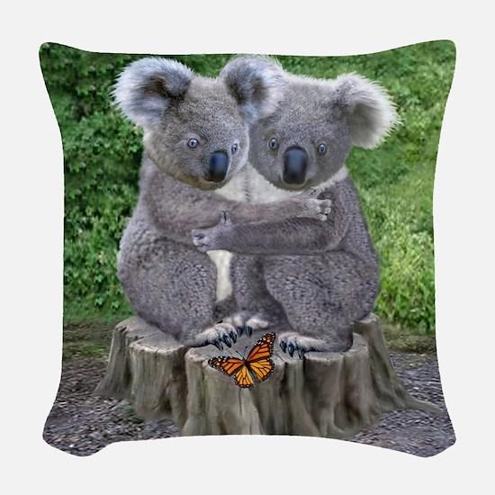BABY KOALA HUGGIES Woven Throw Pillow