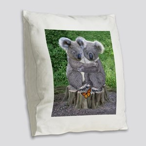 BABY KOALA HUGGIES Burlap Throw Pillow