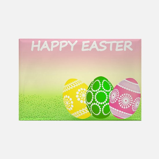 Happy Easter Pretty Eggs on Grass Magnets