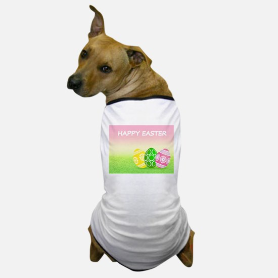 Happy Easter Pretty Eggs on Grass Dog T-Shirt