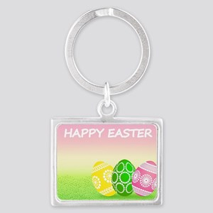 Happy Easter Pretty Eggs on Grass Keychains