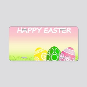 Happy Easter Pretty Eggs on Aluminum License Plate