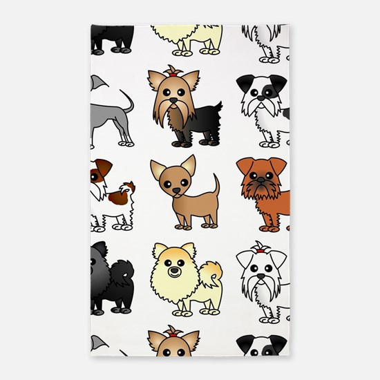 Cute Toy Dog Breed Pattern Area Rug
