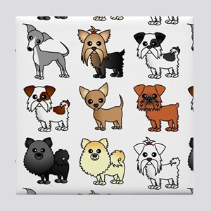 Cute Toy Dog Breed Pattern Tile Coaster