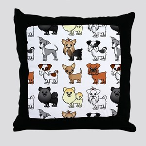 Cute Toy Dog Breed Pattern Throw Pillow