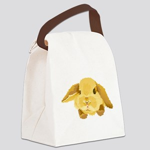 Fuzzy Lop Eared Bunny Canvas Lunch Bag