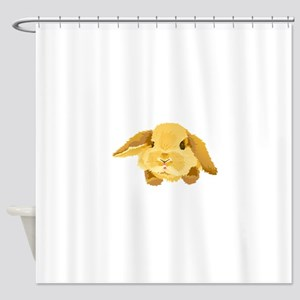 Fuzzy Lop Eared Bunny Shower Curtain