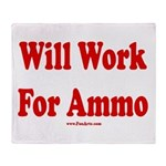 Will Work For Ammo Throw Blanket