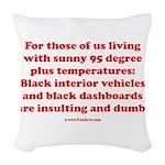 Black Interior Cars Woven Throw Pillow