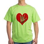 ILY Heart Green T-Shirt