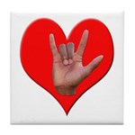 ILY Heart Tile Coaster