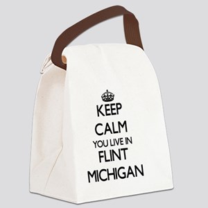 Keep calm you live in Flint Michi Canvas Lunch Bag