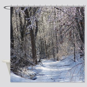 Icy Snow Trail Shower Curtain