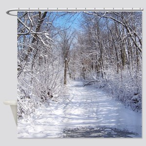 Snow Trail Scenery Shower Curtain