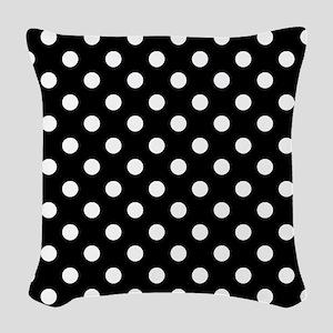 bw-polkadot Woven Throw Pillow