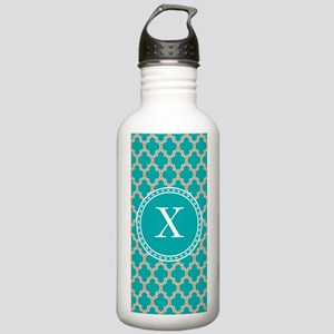 Custom Initial Teal Quatrefoil Water Bottle