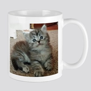 Cute Silver Siberian kitten on carpet Mugs