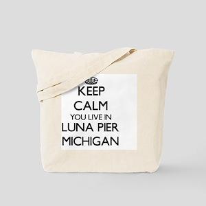 Keep calm you live in Luna Pier Michigan Tote Bag