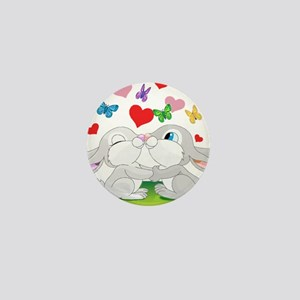 Kissing Bunnies Mini Button