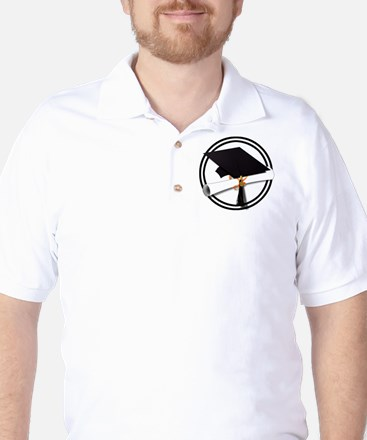 Graduation Cap with Diploma, Black and Golf Shirt