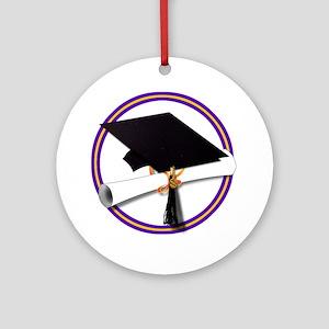Graduation Cap with Diploma,Purpl Ornament (Round)