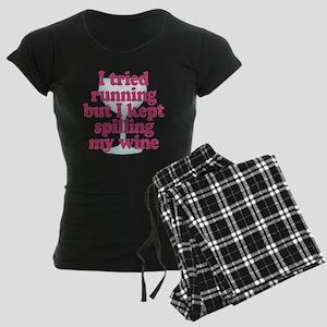 Wine vs Running Lazy Humor Women's Dark Pajamas
