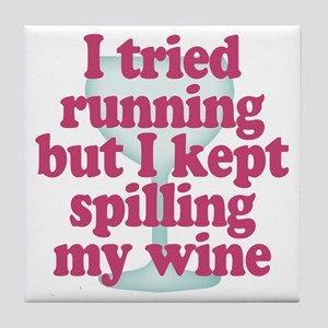 Wine vs Running Lazy Humor Tile Coaster