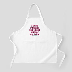 Wine vs Running Lazy Humor Apron