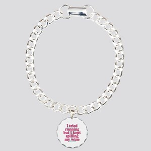Wine vs Running Lazy Hum Charm Bracelet, One Charm